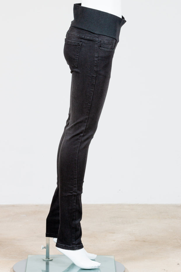 M. Rena Classic Washed Black Jeans with High Waistband