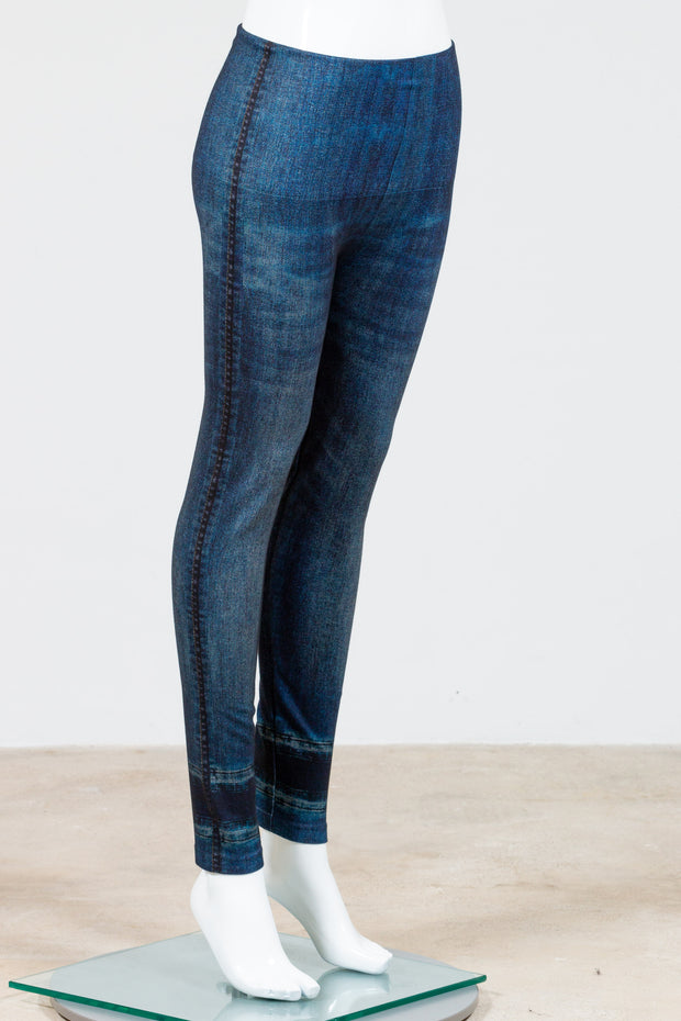 M. Rena High Waist Full Length Denim Leggings (Jeans Sublimation Print)