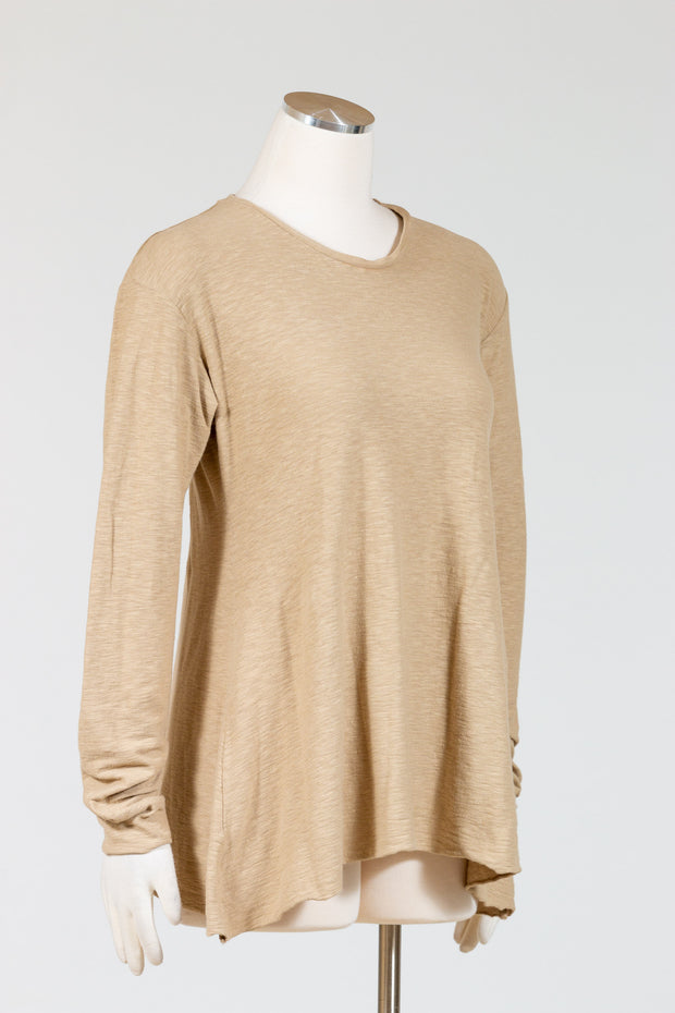 Cut Loose Long Sleeve Swing Top (Cotton Linen Knit) Multiple Colors