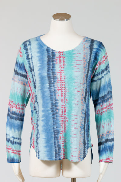 Nally & Millie Printed Long Sleeve Shirt {Blue Green Tie Dye}