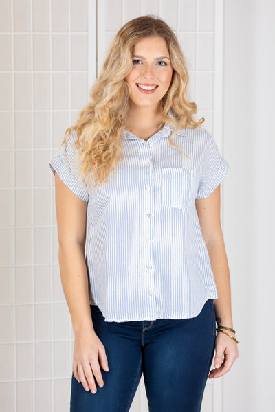 Cut Loose Short Sleeve Pocket Shirt (Linen) {White}