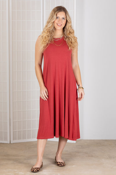 Heartstring by Kleen Tank Dress (Jersey) {Maroon/Marine}