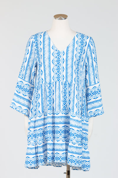 Tribal Bell Sleeve Tiered Dress {Nautical}