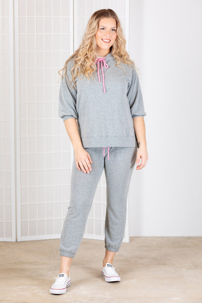 Nally & Millie French Terry Lounge Set {Grey&Pink}