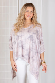 Nally & Millie Imogen Tie Dye Angled Top {Pink & Grey}