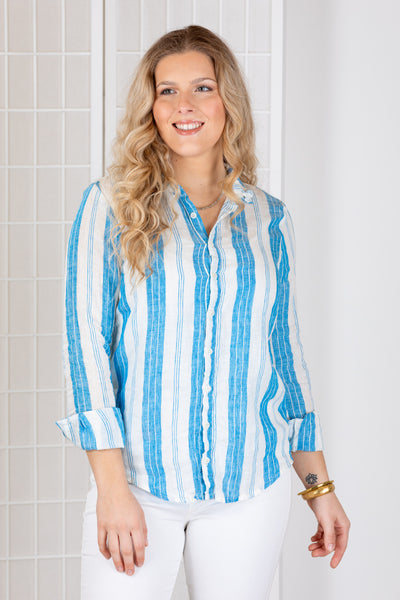 CP Shades Romy Top (Linen) {Wide Blue Stripe}