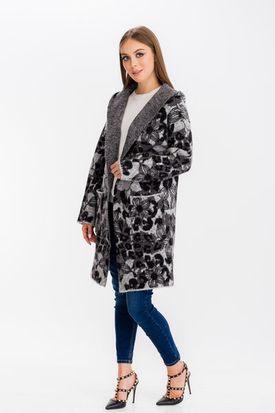 Baciano Harriet Long Hooded Coat (Stretch Knit)