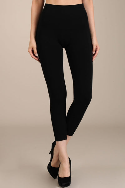 M. Rena Tummy Tuck Solid High Waist Leggings (Standard Weight), Cropped Length