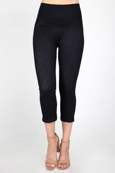 M. Rena Tummy Tuck Denim Cropped Leggings (Standard Weight)