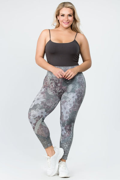 M. Rena High Waist Leggings (Iris Sublimation Print), Cropped Length - Size B