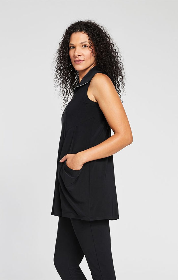 Sympli Sleeveless Double Take Tunic (Jersey) {Black}