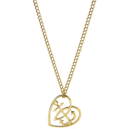 Gold Anchor Heart Necklace