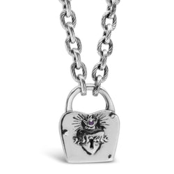 Ruby Sacred Heart Padlock Necklace - kim baker