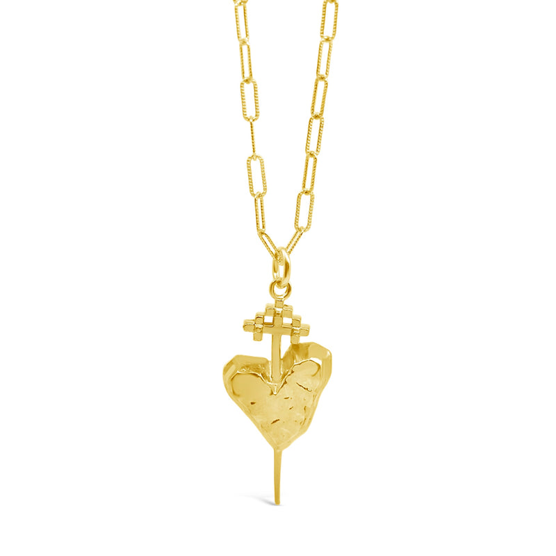 Petite Gold Pierced Heart Necklace - kim baker