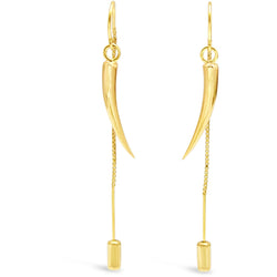 Gold Tusk Thread Earrings - kim baker