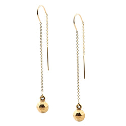 Gold orb threader earrings