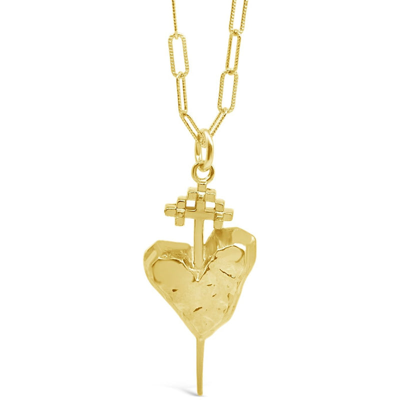 Large Gold Pierced Heart Necklace - kim baker
