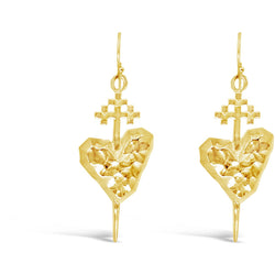 Gold Pierced Heart Earrings - kim baker