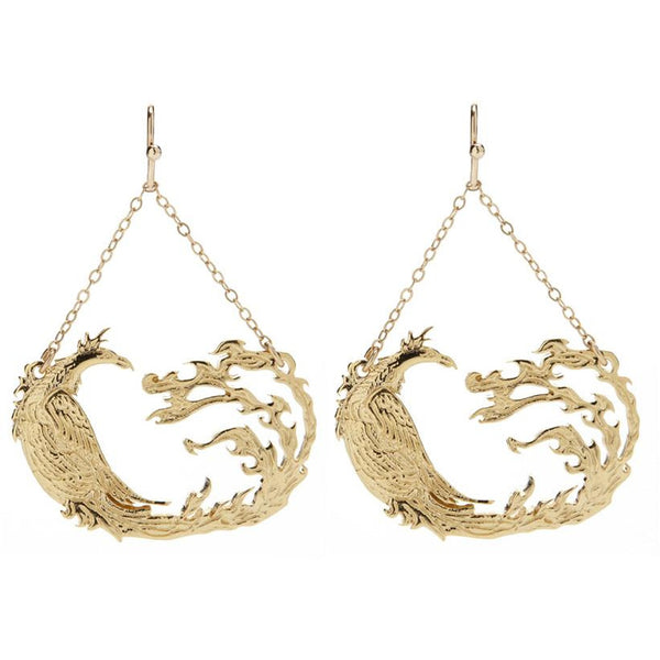 Gold Phoenix Earrings