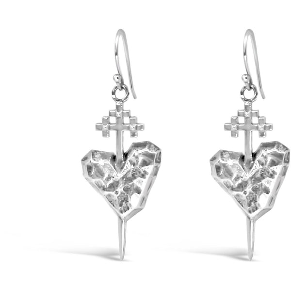 Silver Pierced Heart Earrings - kim baker
