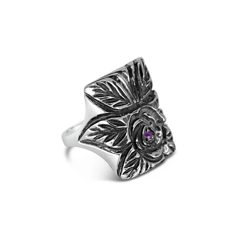 Silver Ruby Rose Ring - kim baker