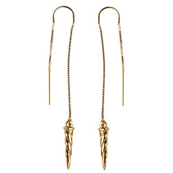 Gold Horn Threader Earrings