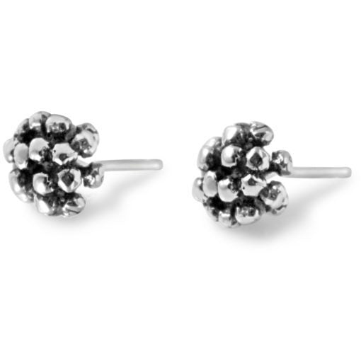 Silver Ivy Cluster Stud Earrings