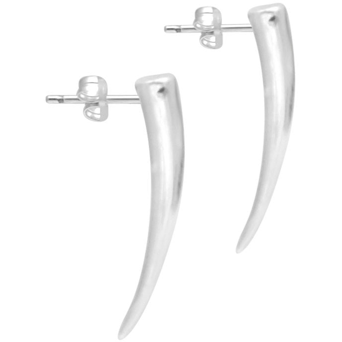 Silver Tusk Spike Earrings - kim baker
