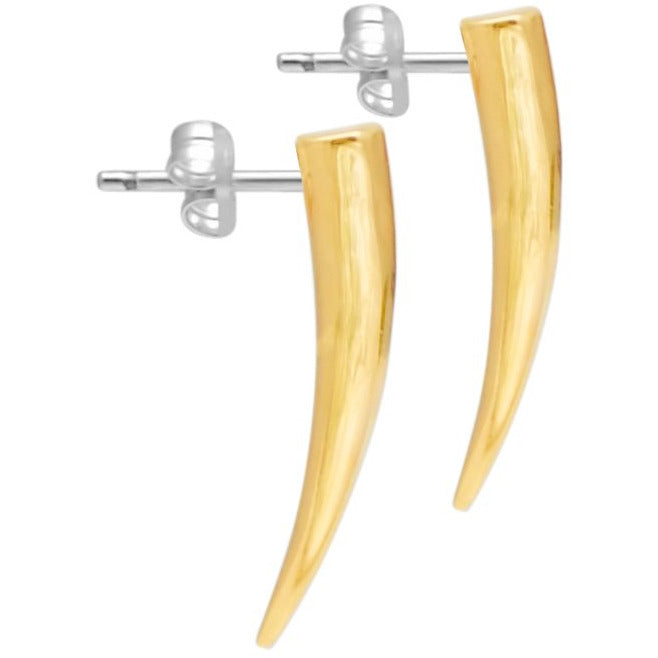 Gold Tusk Spike Earrings - kim baker