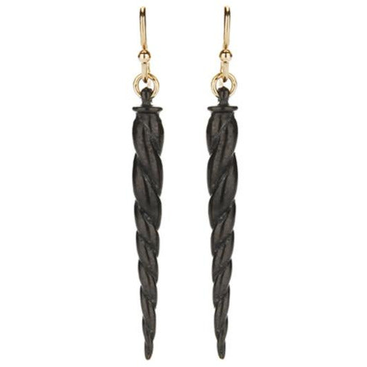 Oxidized Horn Earrings