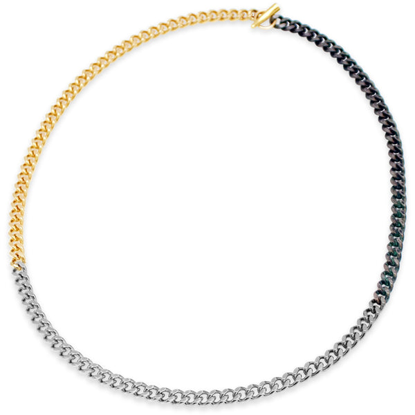 Tri- Color Cuban Link Necklace - kim baker