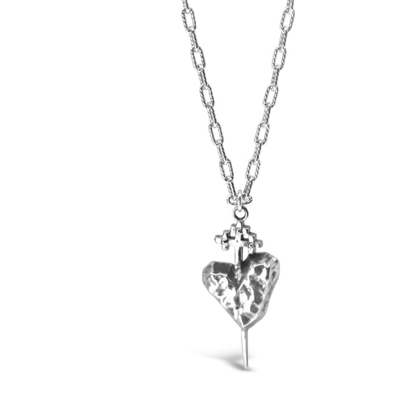 Petite Silver Pierced Heart Necklace - kim baker