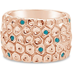 Rose gold turquoise honeycomb band ring