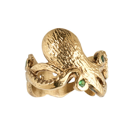 Gold Octopi Ring With green garnets