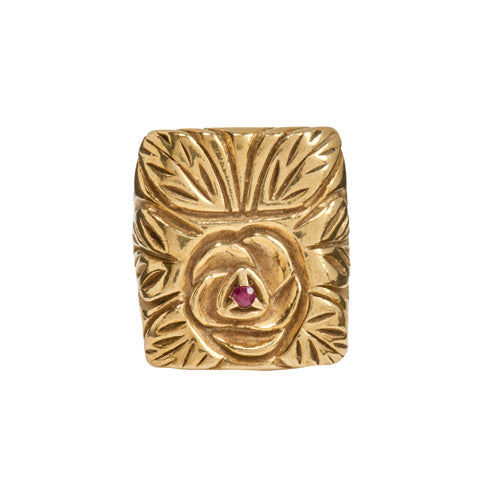 Gold Ruby Rose Ring - kim baker