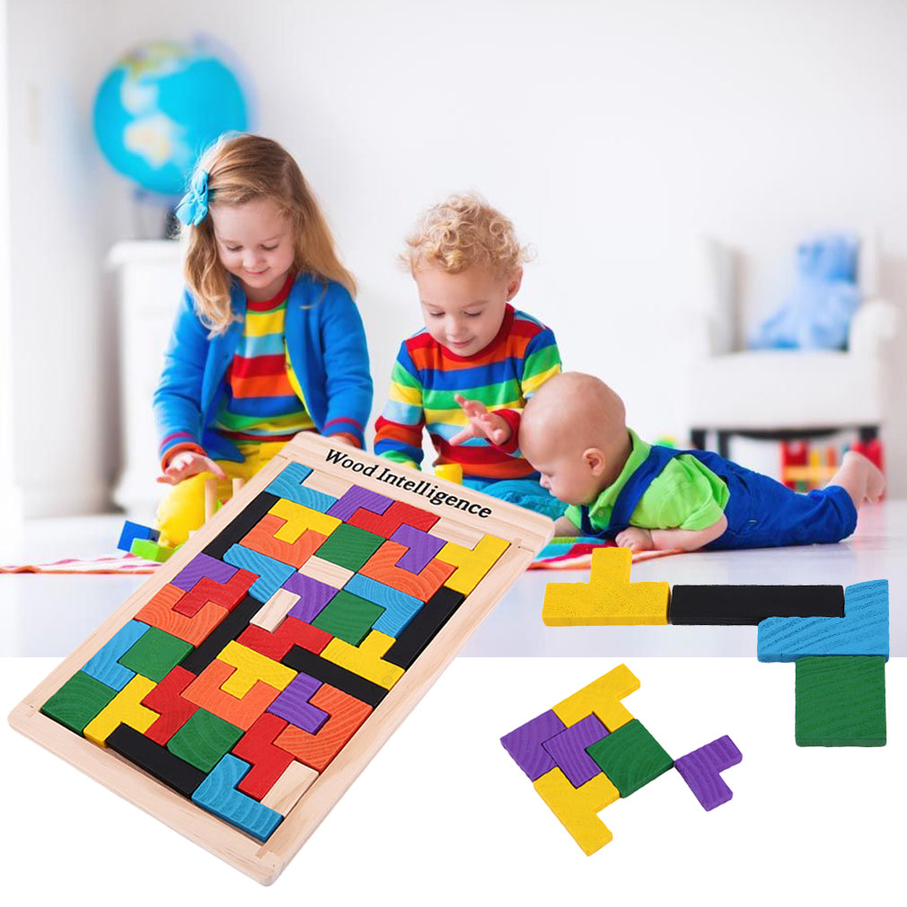 Colorful 3D Puzzle Wooden Tangram Math Toys Tetris Game