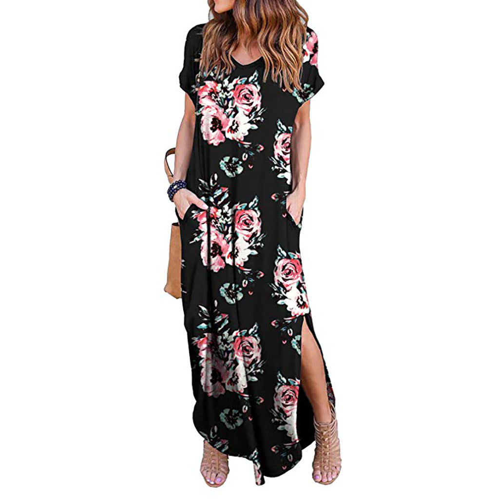 #2 Women's Casual Loose Pocket Long Dress Short Sleeve Split Maxi Dresses