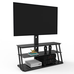 Black Multi-Function Angle And Height Adjustable Tempered Glass TV Stand