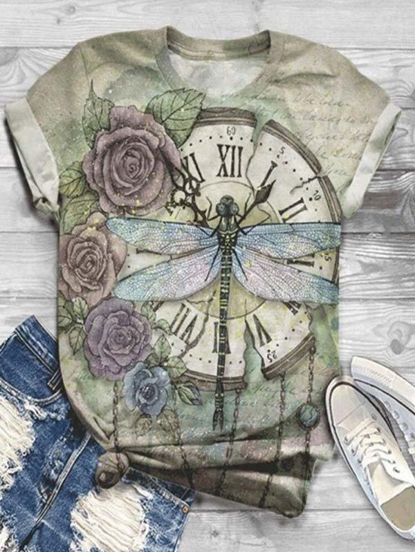 Dragonfly Print Short Sleeve T Shirt