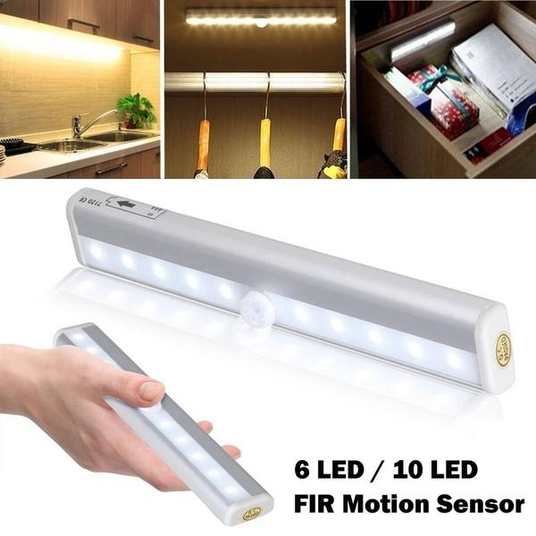 6/10 LED Portable Wireless PIR Motion Sensor Light Infrared Induction Lamp Super Bright Light Bar for Closet Cabinet Wardrobe Stairway Drawer Porch