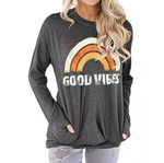 Womens Good Vibes Sweatshirt Long Sleeve Rainbow Pullover Top Casual T Shirts with Pockets