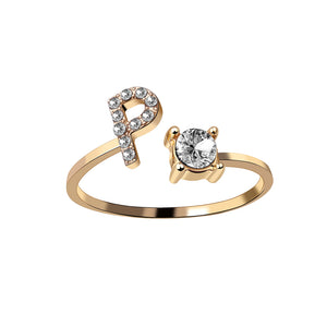 New Fashion Gold Silver A-Z 26 Letters Initial Name Rings For Women