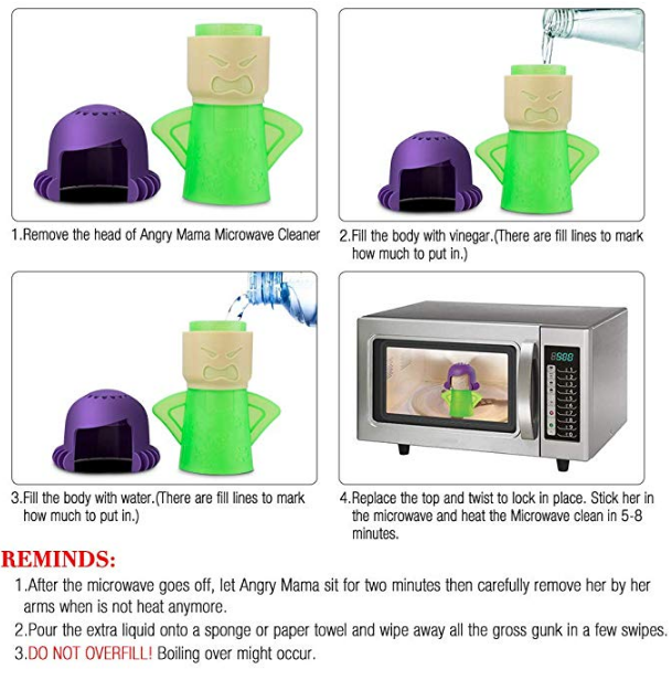 Angry Mama Microwave Cleaner(2 pack blue&green)