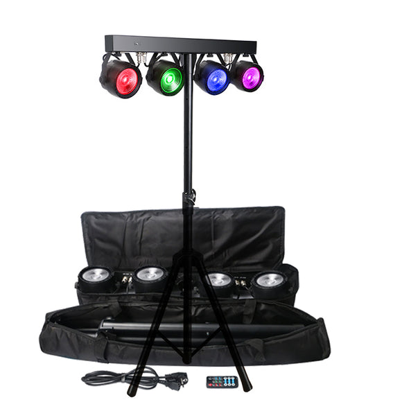 4x30W RGB Tri Color Individual Control LED COB Par Light Package with Tripod Stand and Travel Bag