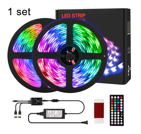 1 Pack (5 sets) 10M 33ft Waterproof 12V SMD5050 RGB Color Changing LED Strip Light with Remote