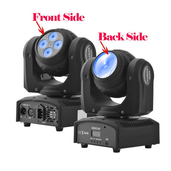 1 Pack (4pcs) OPPSK 4x10w Wash 10W Beam Dual-side RGBW 4in1 Mini LED Moving Head Light