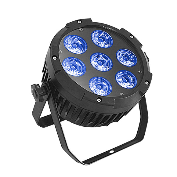 4-Pack, 7x18W RGBWA UV 6in1 Waterproof DJ Stage Lighting IP65 Outdoor Mini Silent LED Hex Par Light