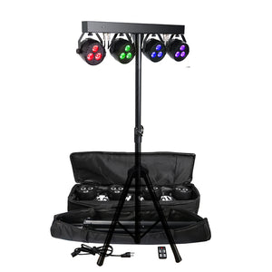 2-Pack, OPPSK 12x4W RGB UV 4in1 Individual Control DJ Wash Lighting Package LED Par Light Kit with Tripod Stand and Carry Bag