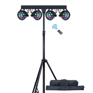 1 Pack (2 sets) OPPSK 60W RGB DJ Disco Ball LED Par Light System with Stand and Carry Bag for Party Event