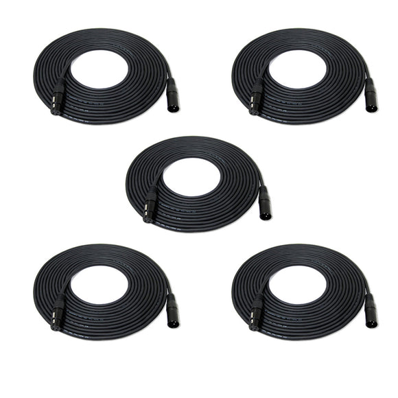1 Pack ( 5 pcs) 50ft 15M DMX512 Cable 3 Pin XLR Male to Female Stage Light Signal Cable